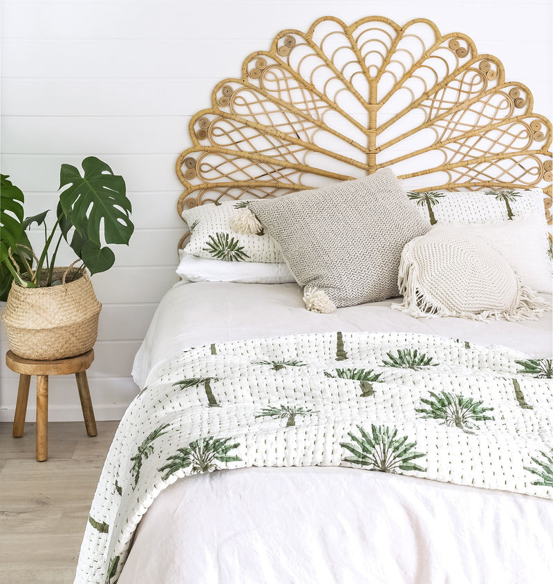 Boho Palm Kantha Quilt (QUEEN-KING)