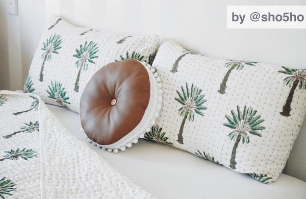 (SECONDS) Boho Palm Kantha Pillow Cover