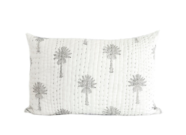 Sabal Palm Kantha Pillow Cover