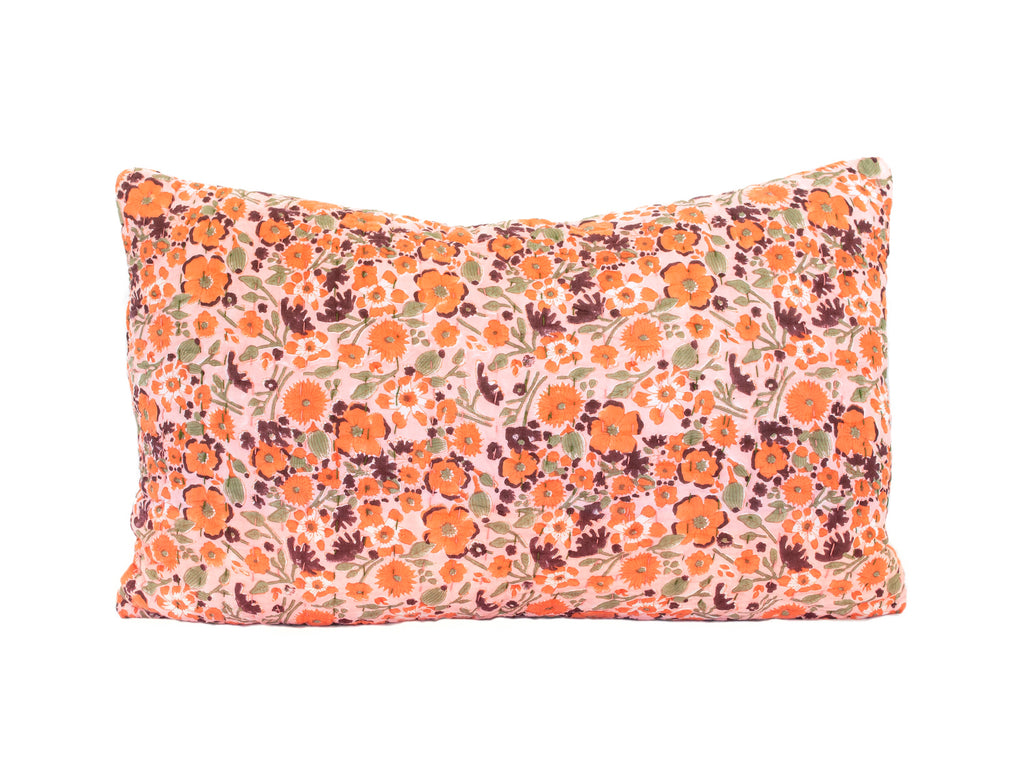 Sunset Poppy Kantha Pillow Cover