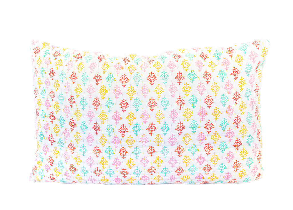 Holi 'Sari' Kantha Pillow Cover