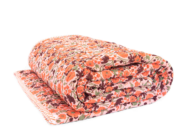 Sunset Poppy Kantha Quilt (QUEEN-KING)