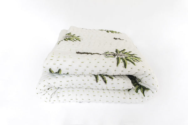 Boho Palm Kantha Quilt (SINGLE-DOUBLE)