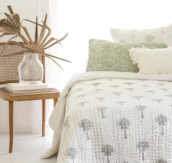 Sabal Palm Kantha Quilt (QUEEN-KING) Re-Stock July