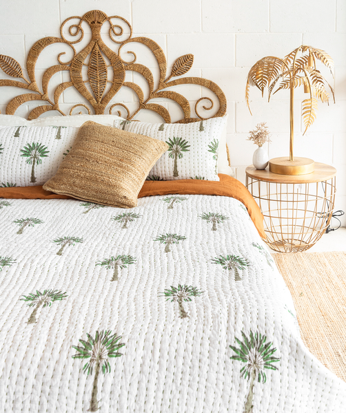 Boho Palm Kantha Quilt (QUEEN-KING) Re-Stock January