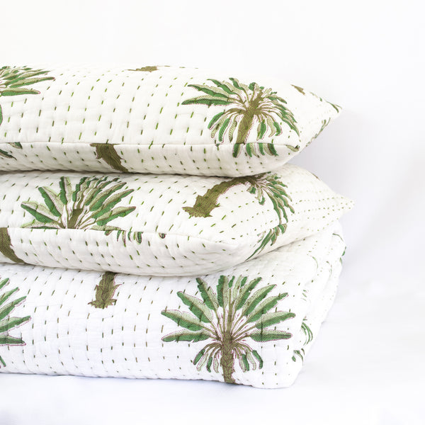 Boho Palm Kantha Pillow Cover