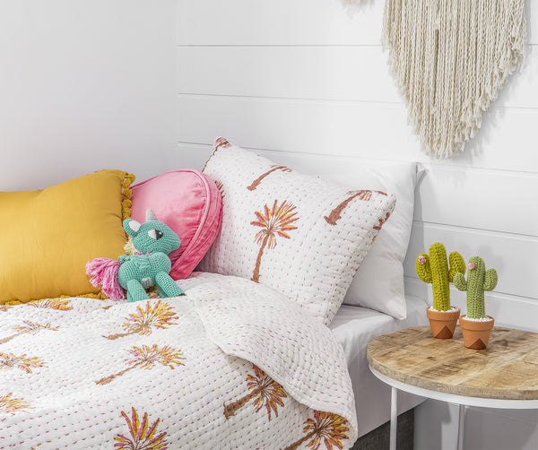(Seconds) Peachy Palm Kantha Quilt (SINGLE-DOUBLE)