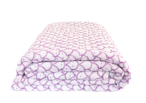 Lilac Mermaid Kantha Quilt (SINGLE-DOUBLE)