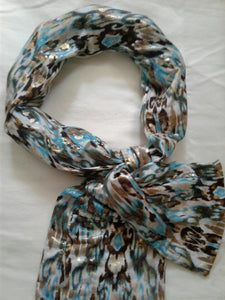 Cooling Scarf - Turquoise/Gold Shimmer - COOLING BALLS INCLUDED!
