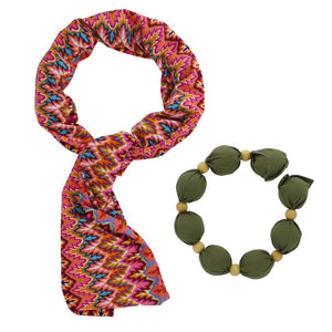 Cooling Scarf - Coral/Turquoise - COOLING BALLS INCLUDED!