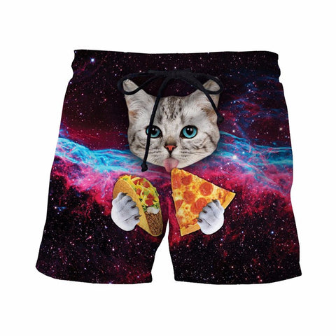 Taco Cat Board Shorts - JAKKOUTTHEBXX - Taco Cat Shorts Mens Hipster Space Galaxy 3D Short Pants Handsome Streetwear Board Shorts Male Cute Cat Eat Tacos Beach Shorts - 1
