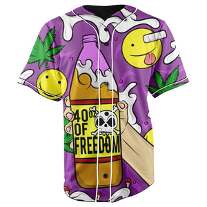 40 Oz Of Freedom Purple Button Up Baseball Jersey