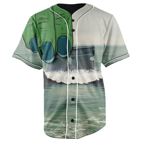 Cocaine Ocean Button Up Baseball Jersey