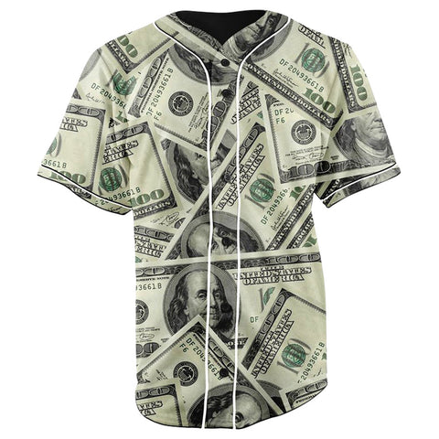 One Hundred Dollar Bill Collage Button Up Baseball Jersey