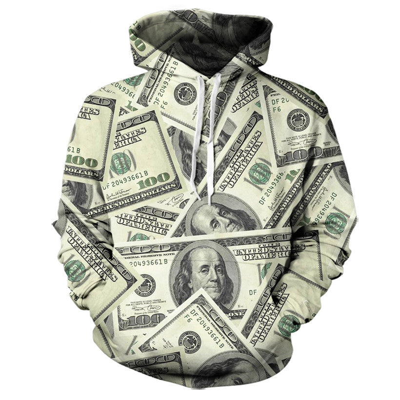 One Hundred Dollar Bill Collage Hoodie