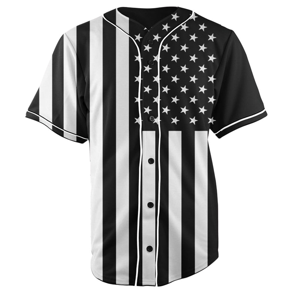 African American Flag Black & White Button Up Baseball Jersey