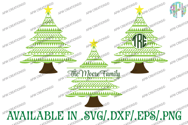 Aztec Christmas Tree - SVG, DXF, EPS