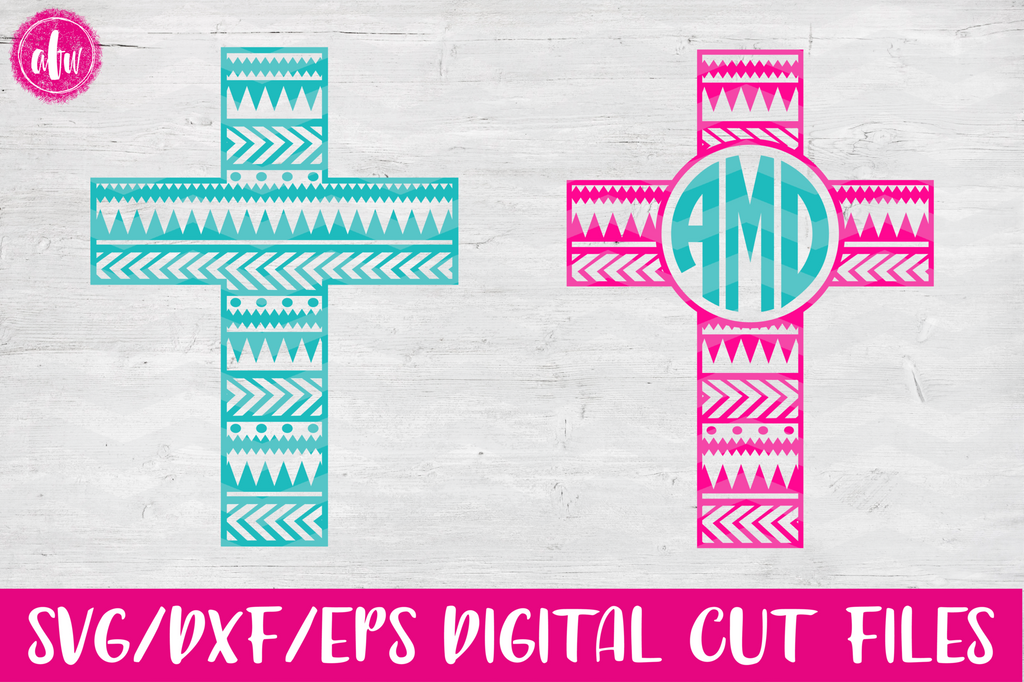 Aztec Patterned Cross - SVG, DXF, EPS