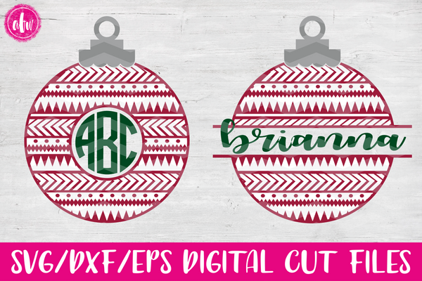 Aztec Monogram & Split Ornament - SVG, DXF, EPS