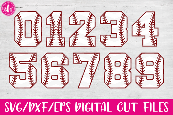 Baseball - Softball Numbers - SVG, DXF, EPS