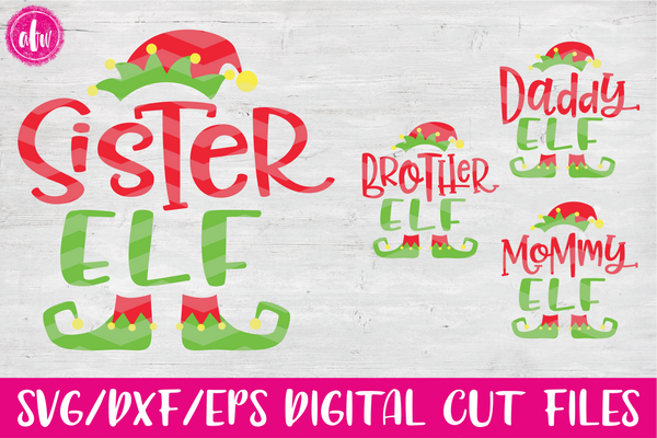 Elf Family Set of 4 - SVG, DXF, EPS