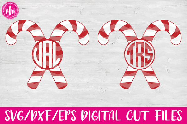 Christmas Monogram Candy Canes - SVG, DXF, EPS