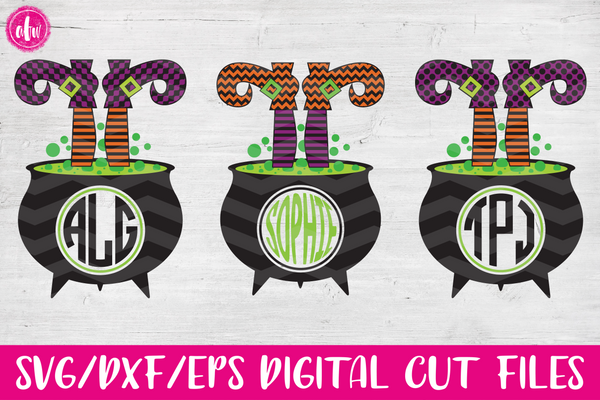 Monogram Witch Legs in Cauldron Bundle - SVG, DXF, EPS