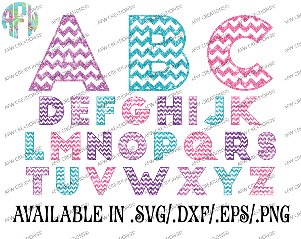 Chevron Pattern Letters - SVG, DXF, EPS