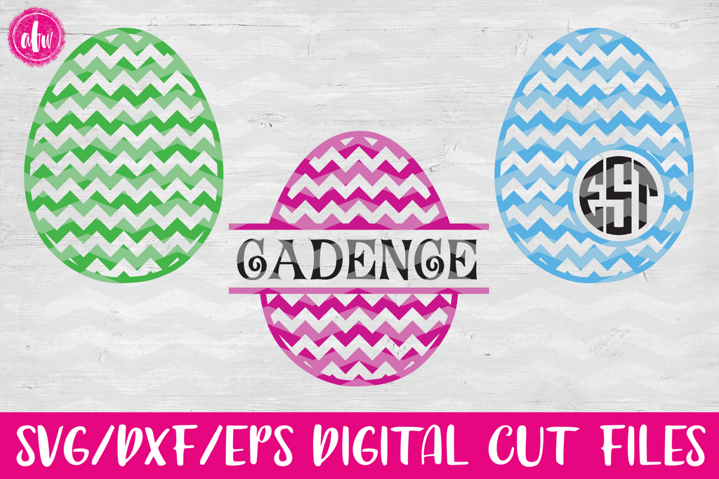 Chevron Patterned Easter Eggs - SVG, DXF, EPS