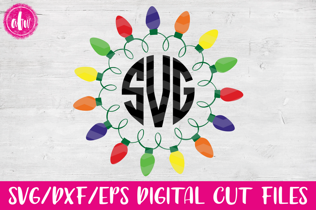 Christmas Lights Monogram 2 - SVG, DXF, EPS