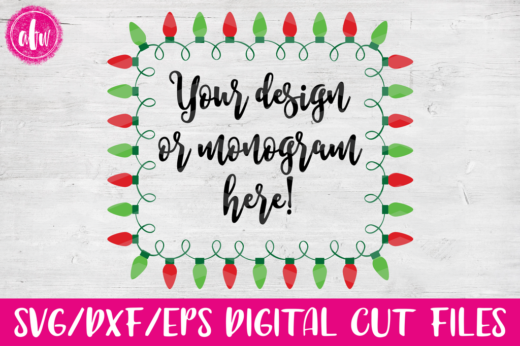 Christmas Lights Rectangle Frame - SVG, DXF, EPS