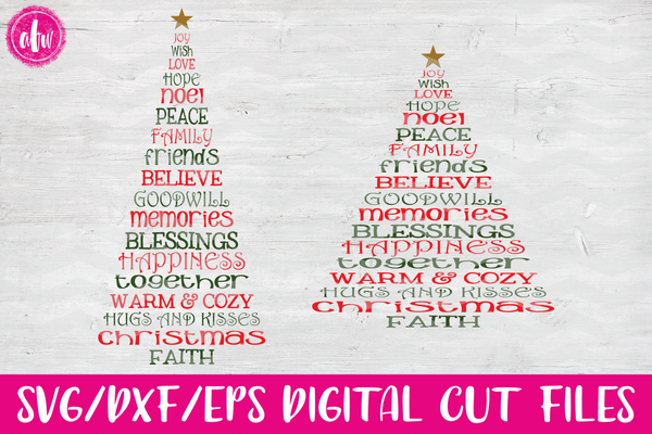 Christmas Word Tree - SVG, DXF, EPS