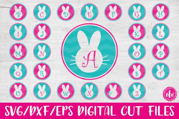 Bunny Monogram Initials Bundle - SVG, DXF, EPS