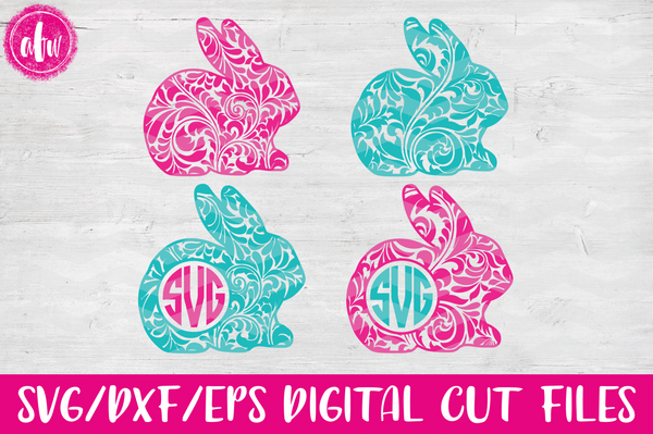 Monogram Flourish Bunny - SVG, DXF, EPS