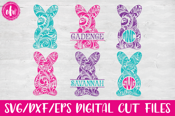Flourish Bunnies - SVG, DXF, EPS