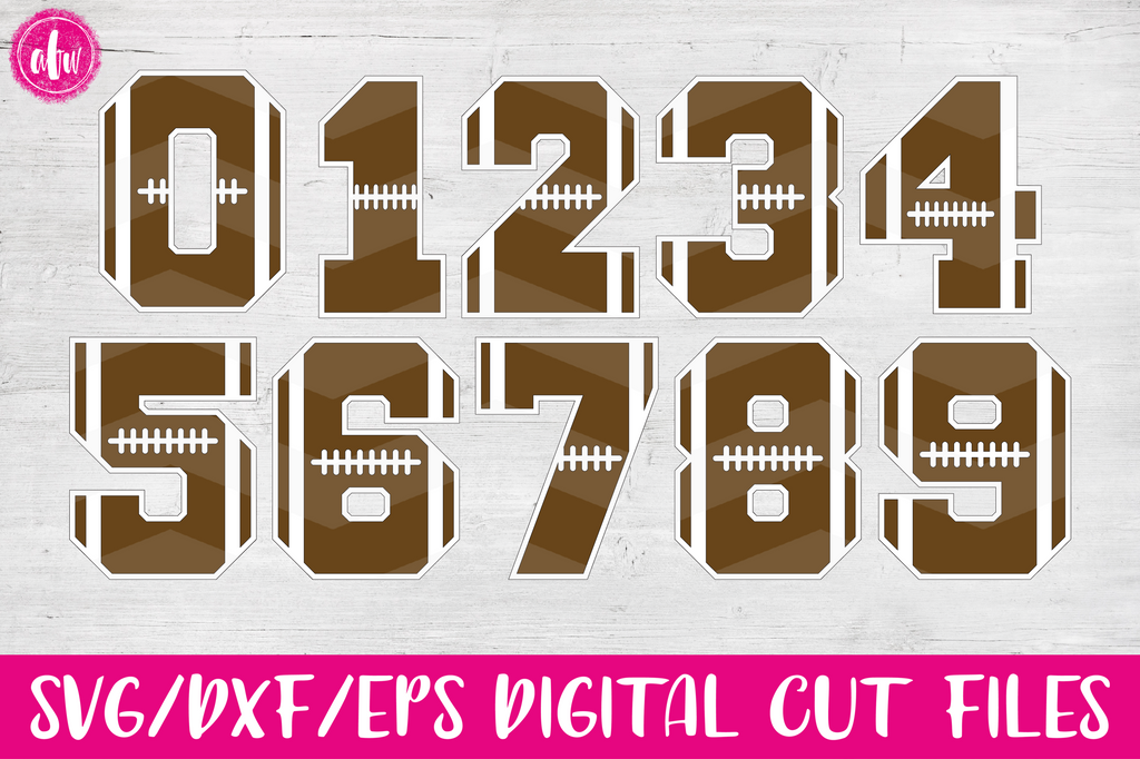 Football Numbers - SVG, DXF, EPS