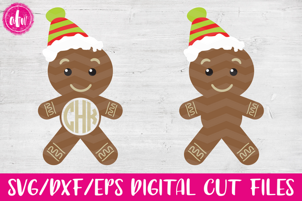 Christmas Monogram Gingerbread Man - SVG, DXF, EPS