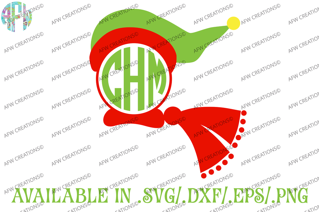 Christmas Monogram Hat & Scarf - SVG, DXF, EPS