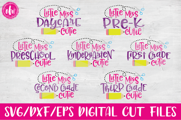 Little Miss School Cutie Bundle - SVG, DXF, EPS