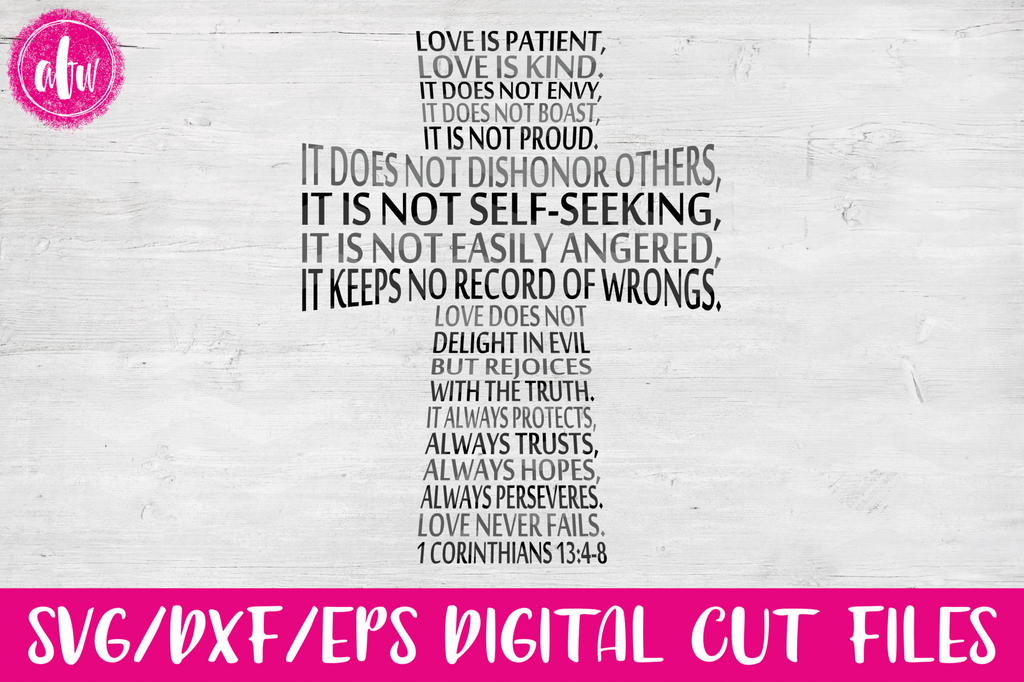 Love is Patient Cross - SVG, DXF, EPS