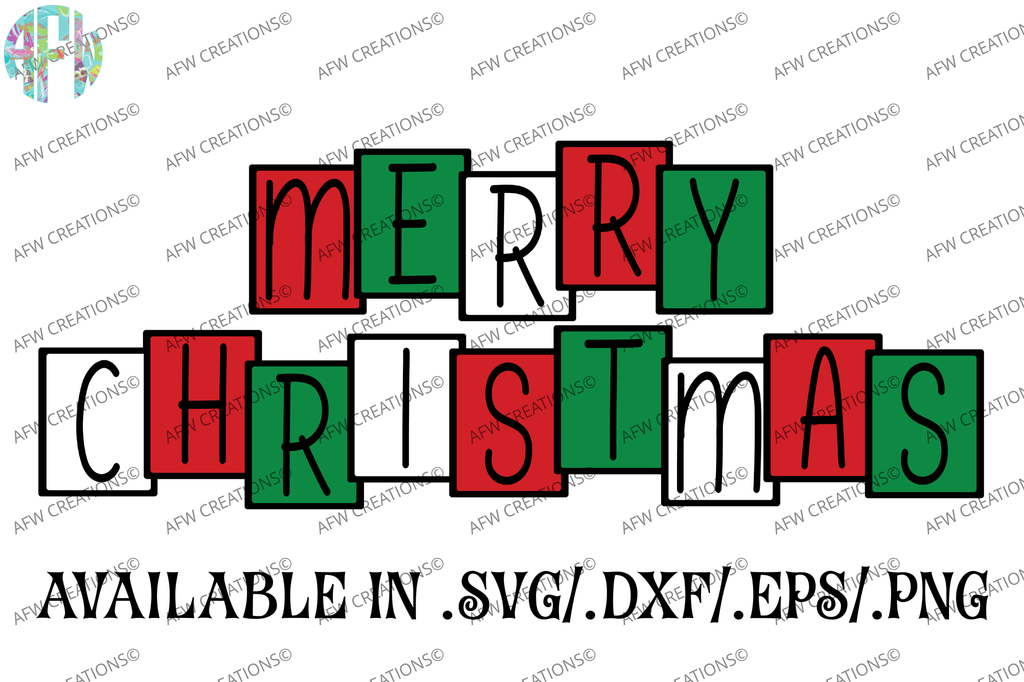 Merry Christmas Blocks - SVG, DXF, EPS