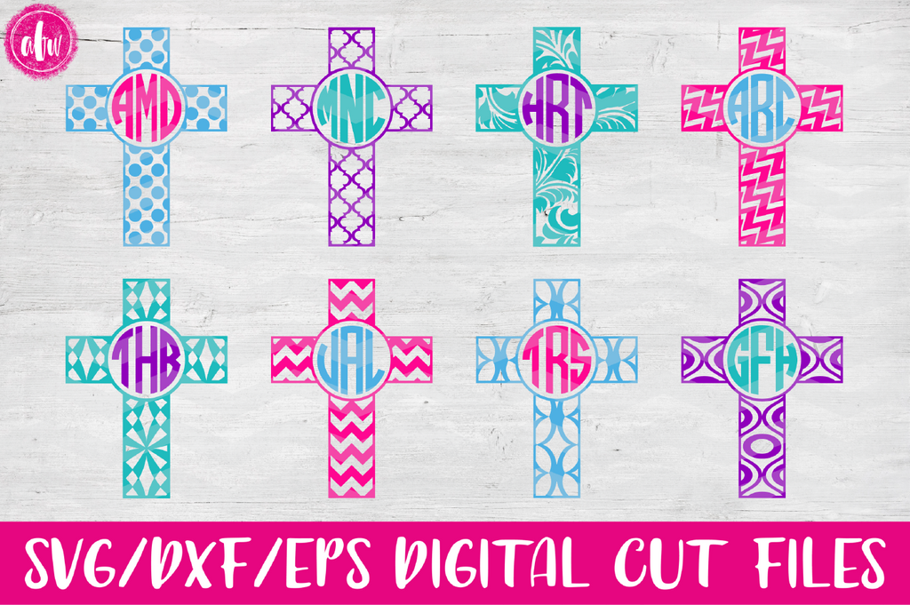 Monogram Pattern Cross - SVG, DXF, EPS
