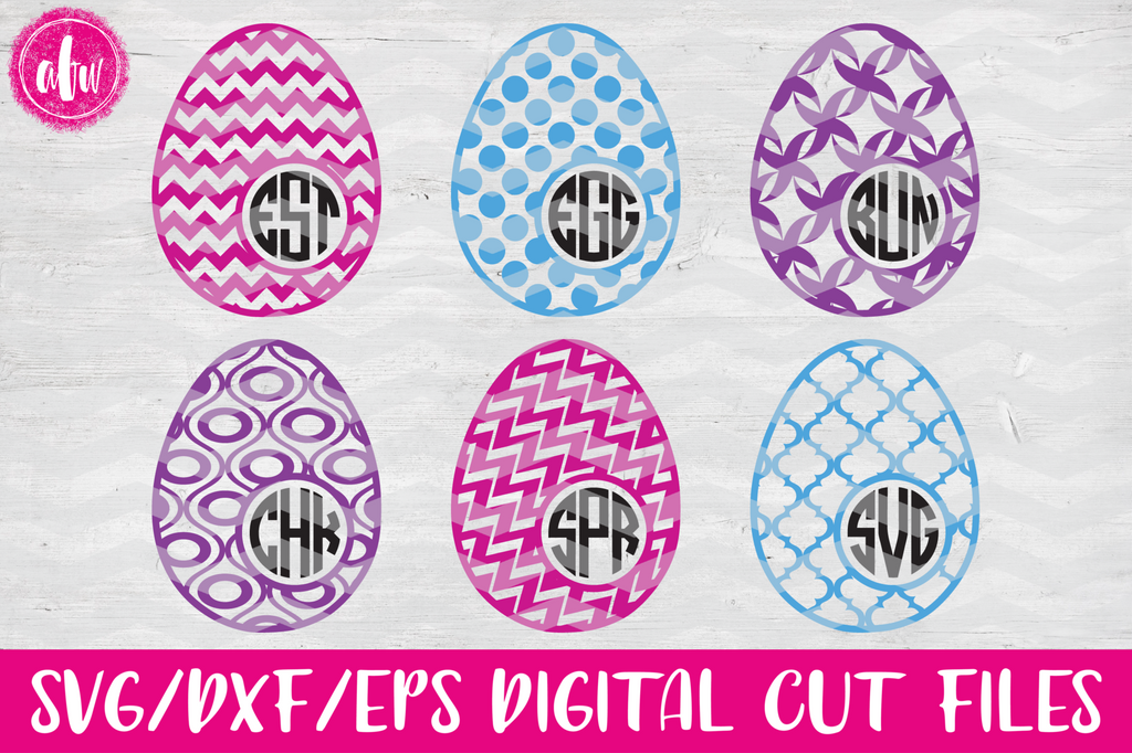 Pattern Monogram Easter Eggs Set #1 - SVG, DXF, EPS