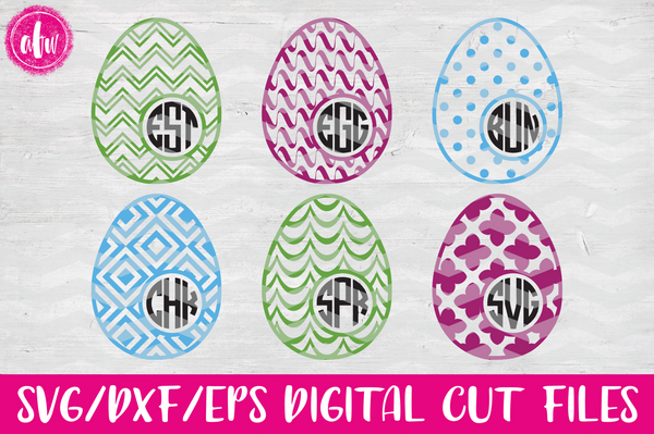 Pattern Monogram Easter Eggs Set #2 - SVG, DXF, EPS