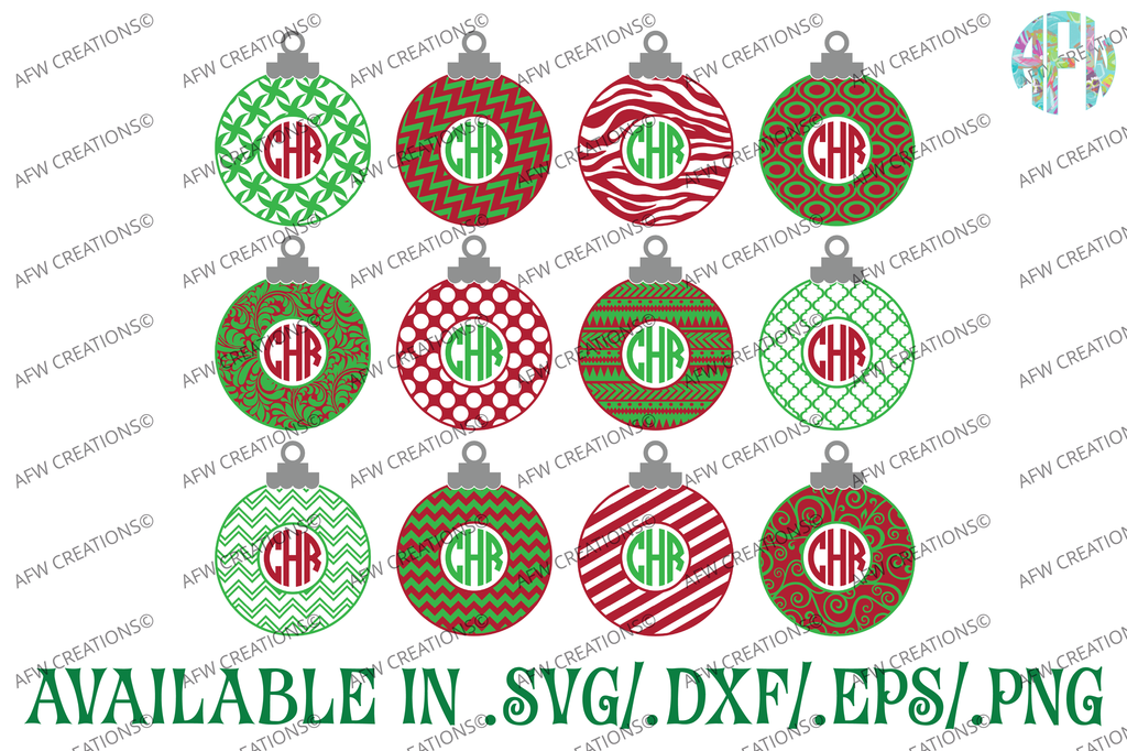 Monogram Christmas Ornament - SVG, DXF, EPS