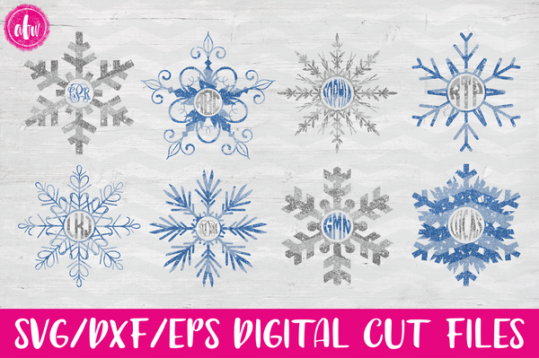 Winter Snowflake Mongoram Set #2 - SVG, DXF, EPS