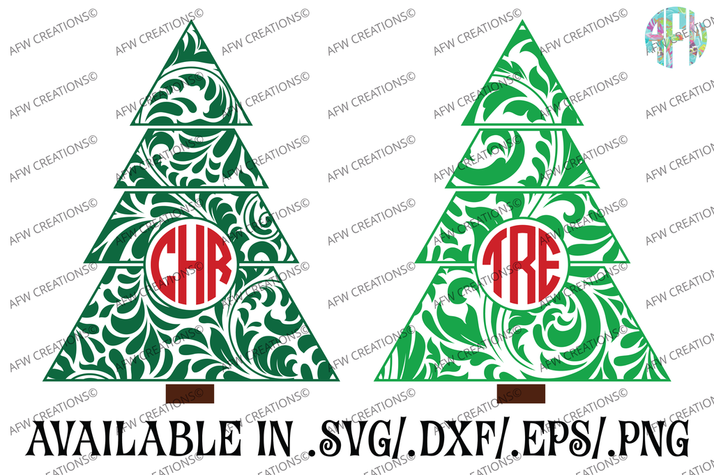 Monogram Swirl Christmas Tree - SVG, DXF, EPS