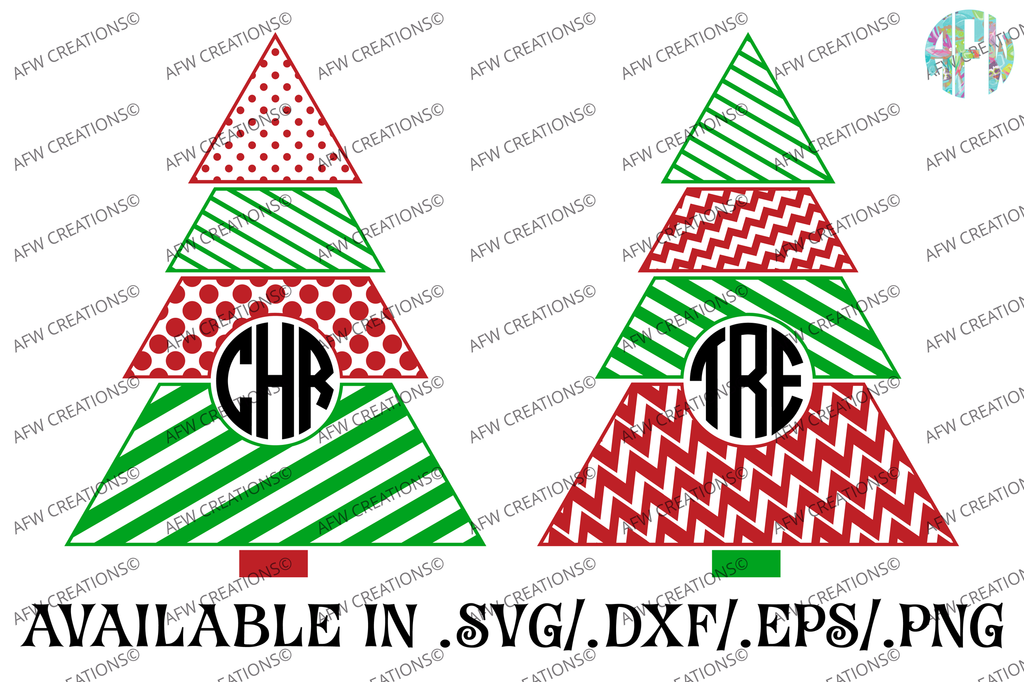 Monogram Pattern Christmas Tree - SVG, DXF, EPS