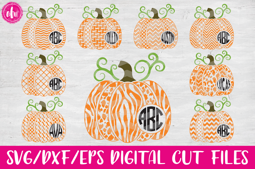 Monogram 2 Pattern Pumpkins - SVG, DXF, EPS