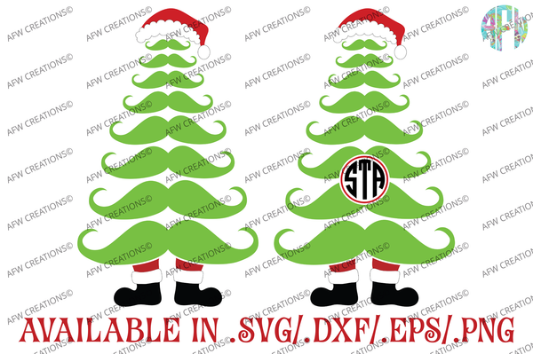Monogram Mustache Tree - SVG, DXF, EPS